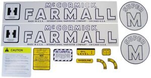Super M International Harvester Farmall Tractor Complete Decal Kit High Quality