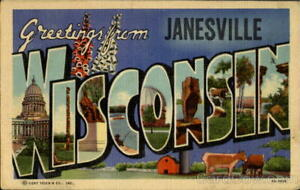 Greetings From Janesville wi Teich Rock County Large Letter Wisconsin Postcard