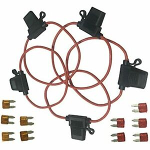 Automotive Car Truck In line 18 Gauge Fuse Holder For Mini Blade Type 5 Pieces