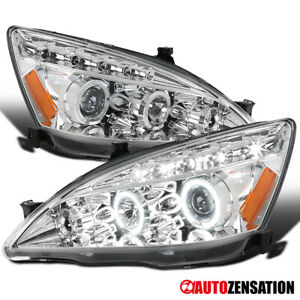 For 2003 2007 Honda Accord 2 4dr Clear Led Halo Rim Projector Headlights Lamps