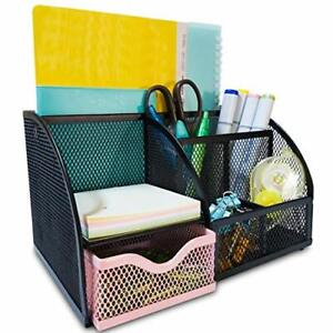 Mesh Desk Organizers Keep Office Supplies In 1 Place Desktop Organizer Pink