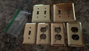 Lot Vintage Amertac Ds Brass Outlet Plate Covers Switch Single Double Hardware