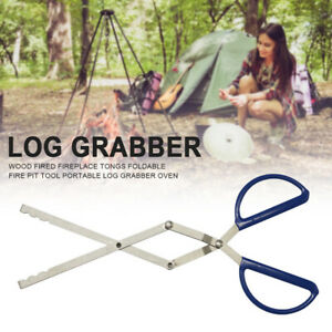 Wood Fired Fireplace Tongs Foldable Fire Pit Tool Portable Log Grabber Oven