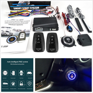 Car Alarm System Keyless Entry Pke Remote Engine Start Stop Push One Button 12v