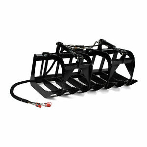 Titan Attachments 60 Root Grapple Rake For Kubota And Bobcat Skid Steer Bucket