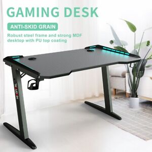 45 Gaming Desk Pc Laptop Computer Table Ergonomic Racing Home Office Rgb Led