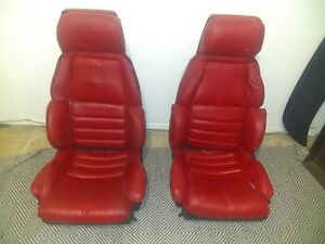 Corvette Oem Seats Pair With Left Power Track Frame Red 88 91 some Wear