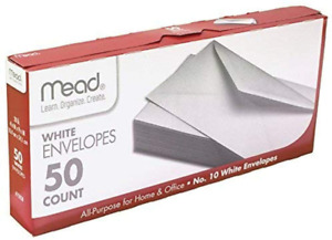 Mead 10 White Business Envelopes With Gummed Flap For Home Office 50 Count
