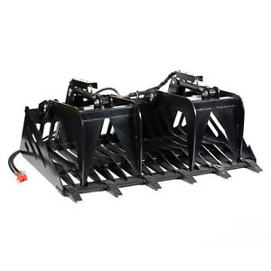 72 Rock Grapple Skeleton Loader Universal Skid Steer With Couplers And Hoses