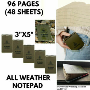 5x Pocket Memo Notebook Waterproof Paper Tactical All Weather Edc Spiral Notepad