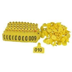 Bqlzr Yellow 1 100 Numbers Plastic Large Livestock Ear Tag For Cow Cattle Pack