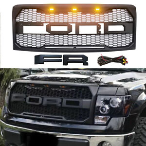 Fit 2009 2014 Ford F150 Raptor Style Grille Front Bumper Hood Mesh Grill W Led