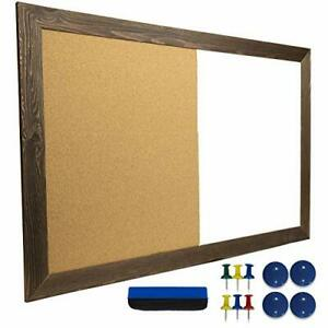 Dry Erase Cork Board Combo Magnetic White Board With Cork Bulletin Rustic