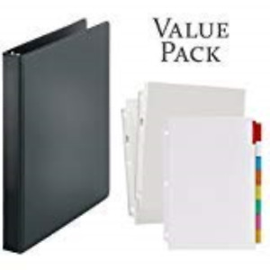 3 ring Binder 1 Inch With 20 Top loading Poly Clear Sheet Protectors And Big 8