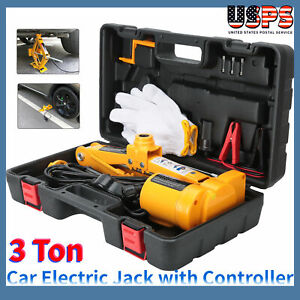 12v Electric Scissor Car Lifting 1 2 Impact Wrench Tools Kit 3 Ton 6600lb