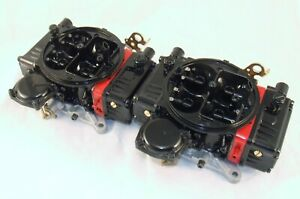 Pair Holley 600 Cfm 2x4 Dual Quad Supercharger Blower Carbs 671 Black Red