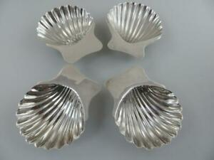 4 Nut Candy Sea Shell Footed Dishes Sterling Silver Mexico