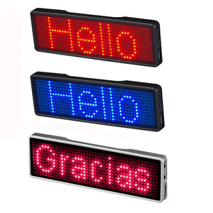 Bluetooth Digital Led Programmable Scrolling Name Message Tag Badge Sign For Car