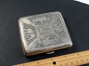 Antique Vintage Asian Indian Thai Silver Cigarette Case With Elephants Birds