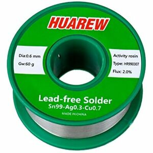 Huarew Hr990307 Sn 99 ag 0 3 cu 0 7 Lead free Solder Wire With Rosin Core 60g