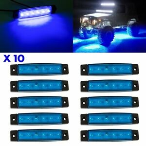 10 Pods Blue Led Underglow Rock Lights Off Road Grille Underbody Neon Lamps Kit