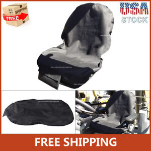 Fit For Backhoes Tractors Universal Equipment Seat Cover Low Back Black Canvas