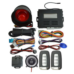 Keyless Entry Car Alarm Security System 2 Key Remote Controls Engine Start stop