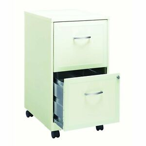 Lorell 2 Drawers Steel Vertical Lockable Rolling File Cabinet Secure Pearl White