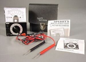 Sperry Sp 140 Analog Vom Ohm Ac dc Volts Amps Multi meter Leads Case Calibrated