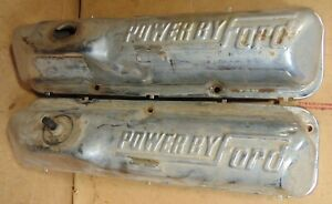 1960s 1970s Vintage Powered By Ford Chrome Valve Covers Bbf 352 360 390 428 L K