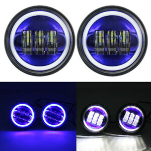 Pair 4 1 2 4 5 Led Auxiliary Passing Fog Light Blue Halo Ring For Motorcycle