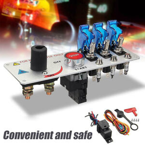 Racing Car Led Toggle Ignition Switch Panel Engine Start Push Button Starter
