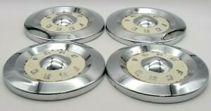 Set Of 4 Vintage Antique 1950s Ford Chrome White Hubcap Dog Dish 10 5 Diameter