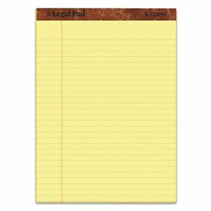 Tops The Legal Pad Writing Pads 8 1 2 X 11 3 4 Canary Paper Legal Rule 50 S