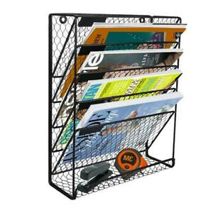 5 Tier Wall File Holder Hanging Mail Organizer Metal Chicken Wire Wall Mount Mag