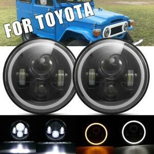 Pair 7 Inch Round Led Headlight Amber Driving Lamp For 1979 1981 Toyota Pickup