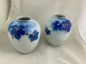 Lovely Pair Of Japanese Fukagawa Porcelain Vases