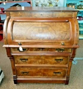 Victorian Cylinder Desk Burl Front Loop And Pinned Drawers