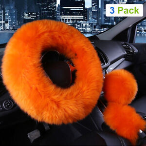 3pcs Car Steering Wheel Cover Furry Fluffy Universal Fur Wool Thick Orange 15