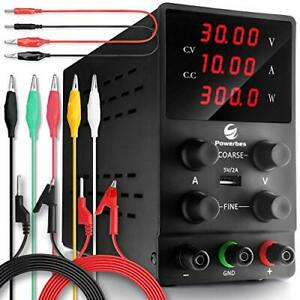 Powerbes Dc Power Supply Variable 30v 10a Adjustable Switching Regulated Bench