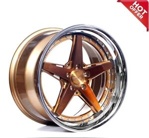 20 Staggered Rennen Wheels Csl 7 Bronze With Chrome Lip Rims