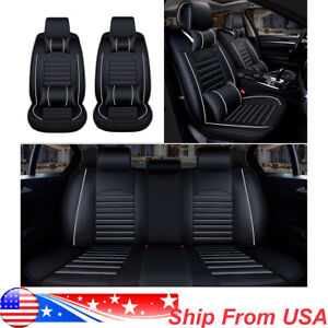 Universal Car Seat Cover 5 Seats Leather Protector Full Set Cushion W N Pillows