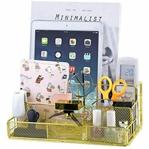 Gold Desk Organizer All In One Cute Mesh Office Supplies Accessories Caddy For