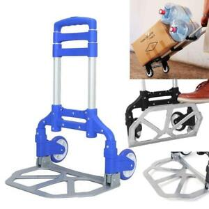 Practical Luggage Cart Folding Dolly Push Truck Hand Trolley Shopping Cart Blue