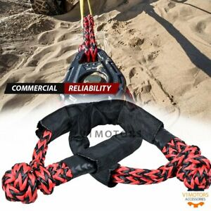 2x Red Black 1 2 Synthetic Soft Shackle Rope Recovery Tow Strap Uhmwpe 38000lb