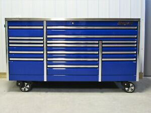 Snap On Royal Blue 84 All Drawer Epiq Tool Box Stainless Steel Power Usb Top