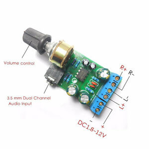1x Dc1 8 12v Tda2822m Amplifier 2 0 Channel Stereo 3 5mm Audio Board Modulebju