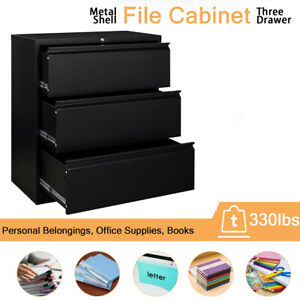Metal Locking Wall Filing Cabinet Steel Storage Lateral File Cabinet 3 Drawers