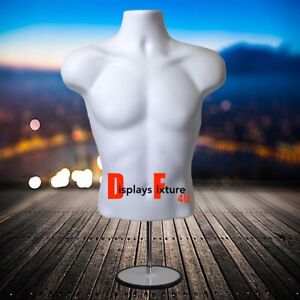 Mannequin For Jewelry Or Clothing Display s Male Form Stand Hook White