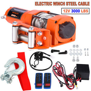 12v Electric Cable Winch Rope Atv Utv 3000lb Recovery Tow Boat Trailer W Remote